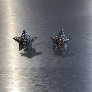 Silver and gold star earrings